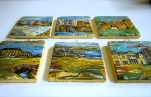 Acrylic Paint and Ink on Ceramic Tiles, with felt backings, miniature display stands, and hanging twine. Varnished.