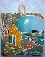 Acrylic Paint and Ink on Ceramic Tile, with felt backing, miniature display stand, and hanging twine. Varnished.